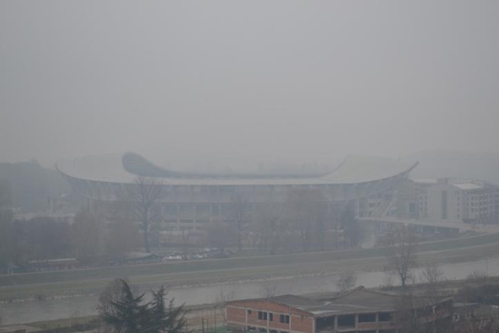 Estadio de Skopje visto desde la fortaleza
