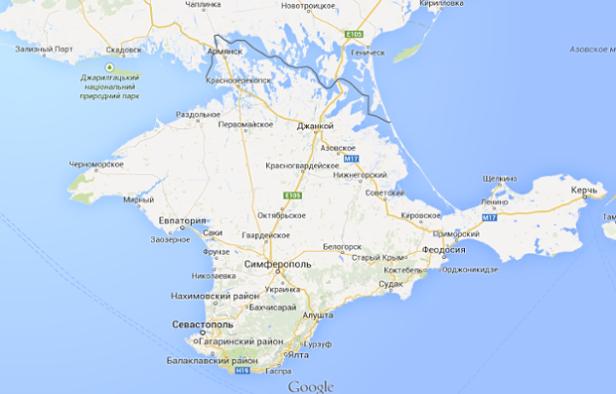 Mapa de la Península de Crimea en Google Maps Versión Rusia (Fuente: Google)