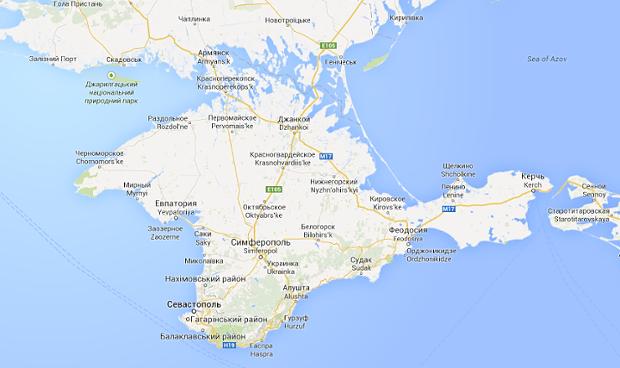 Mapa de la Península de Crimea en Google Maps Versión Ucrania (Fuente: Google)