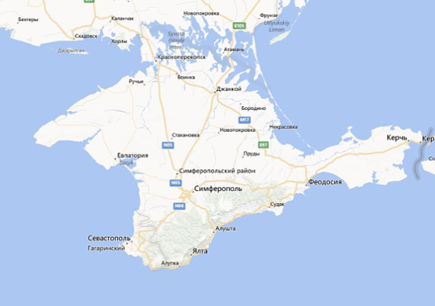 Mapa de la Península de Crimea en Google Maps Versión Internacional (Fuente: Google)