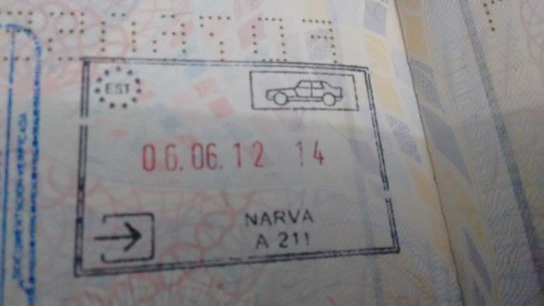 Sello de Inmigración - Puerto fronterizo de Narva, Estonia (Cortesía: Marcelo Vítor Bravo)