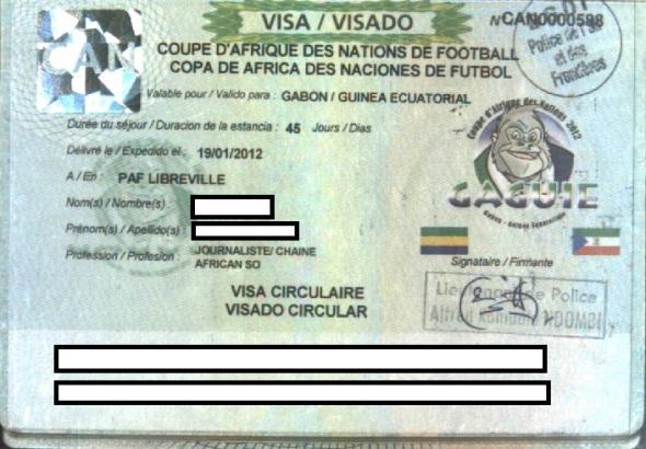Visa conjunta de Guinea Ecuatorial y Gabón para la Copa Africana de Naciones de 2012 (Fuente: Gato Cósmico)