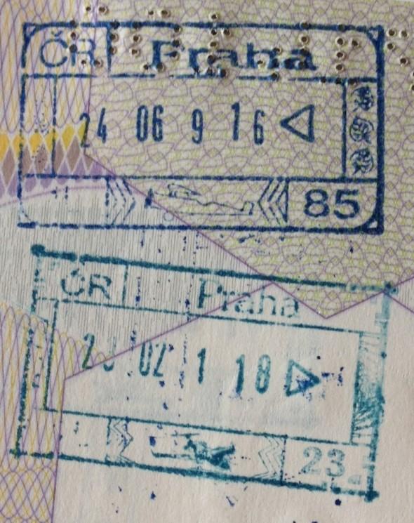 Sello migratorio de la República Checa en el Aeropuerto de Praga (Cortesía: Pierre Thirion)