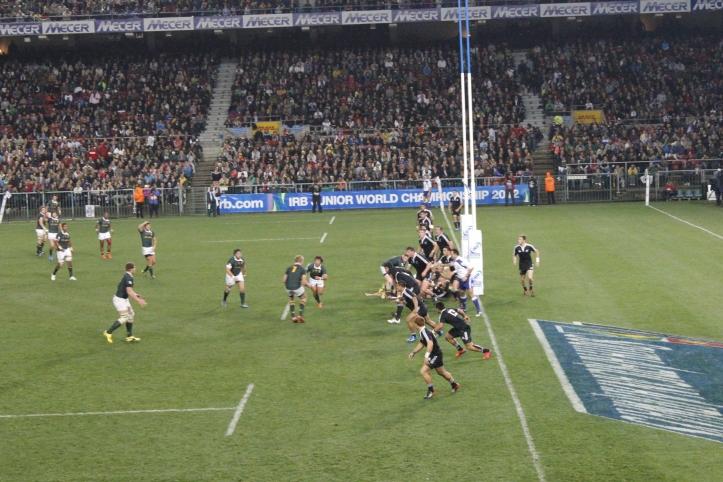 Partido de Rugby entre Sudáfrica y Nueva Zelanda en el estadio de Newlands en Ciudad del Cabo