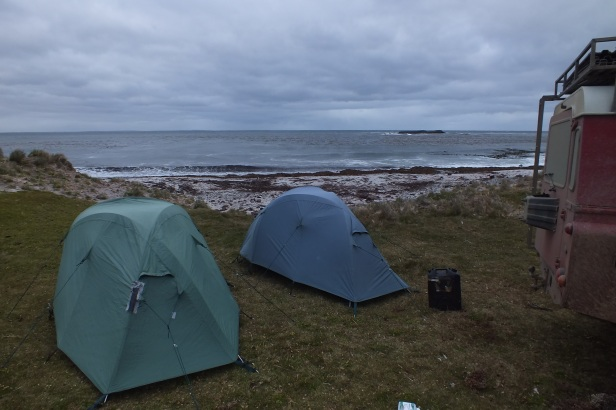 Camp site on southern part of East Falkland Island during population census
