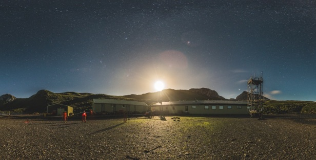 Bird Island Research station at night