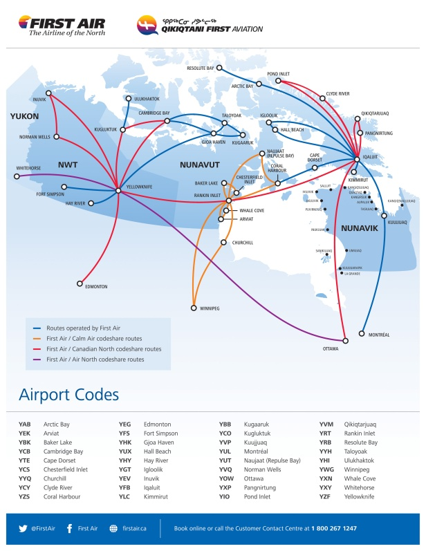 First Air Route Map in the Canadian Arctic (Source)