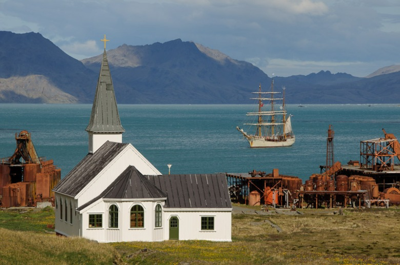 Grytviken church and Bark Europa expedition ship