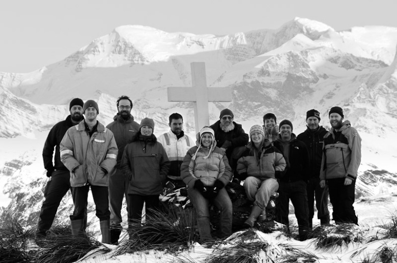 Mid winter team photograph at King Edward Point