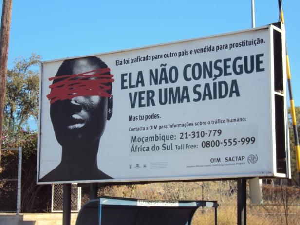 Mensaje contra la trata de personas en la frontera entre Sudáfrica y Mozambique