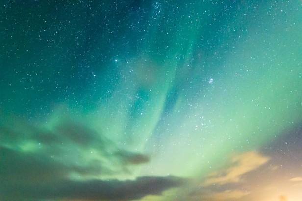 Faint aurora and stars, Iceland