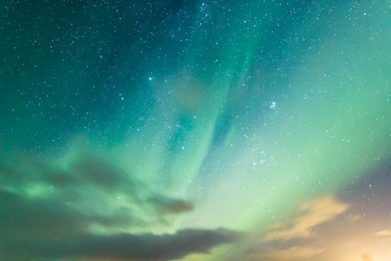 Faint aurora and stars, Iceland